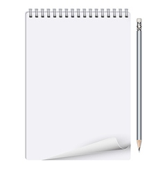 Notebook with pencil on white background vector