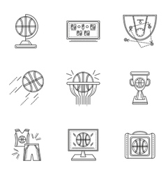 Thin line style basketball icons vector image
