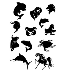 Set of black animals silhouettes vector