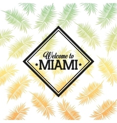 Tropical leaves icon miami florida design vector