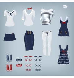 Female navy set of clothes vector