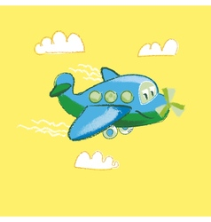 Kiddy little plane on yellow background vector