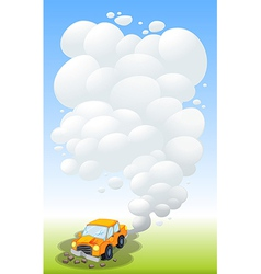 A damaged car releasing smoke vector image vector image