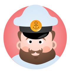 avatar is a cheerful captain a cartoon portrait vector image