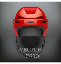Background of classic red ice hockey helmet vector