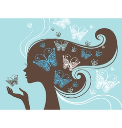 beautiful woman silhouette with butterfly vector image