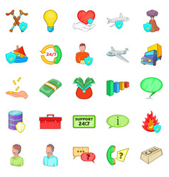 Belay icons set cartoon style vector