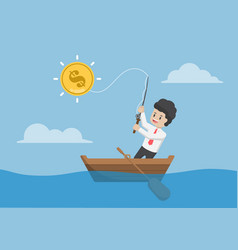 Businessman catching dollar coin by fishing rod vector