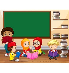 Children reading book in classroom vector