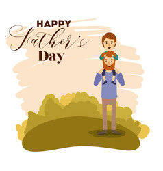 Colorful card landscape of dad with son in vector
