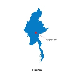 Detailed map of Burma and capital city Naypyidaw vector image vector image