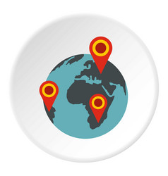 Globe earth with pointer marks icon circle vector