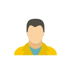 Man in a yellow jacket icon flat style vector