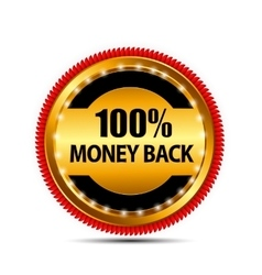 Money back guarantee gold sign label vector