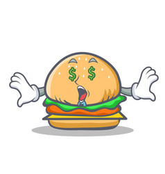 Money eye burger character fast food vector