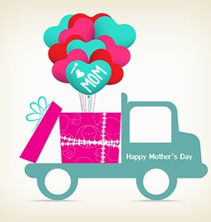 Mothers day with a gift on the car vector