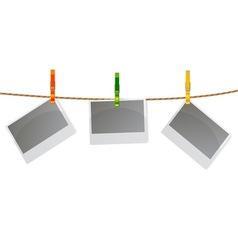 Photos with clothespins vector