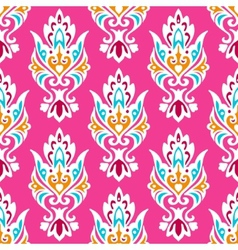 Pink Damask seamless pattern vector image vector image