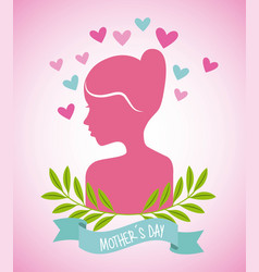 Pink woman hearts leaves decoration mothers day vector