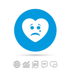 sad heart face with tear icon crying symbol vector image vector image