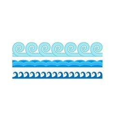 Sea waves pattern set horizontally ocean abstract vector image vector image