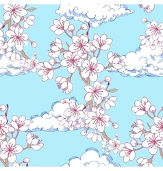 Seamless pattern with sakura and clouds vector image vector image