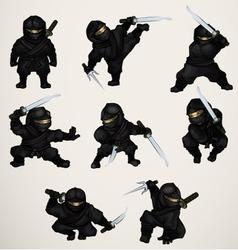 Set of ninja assassins vector