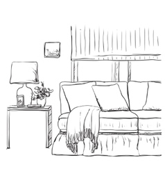 Sketch of living room interior with a chair and vector