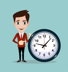 Smiling cartoon businessman with clock vector