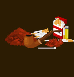 Smoking wooden pipe with tobacco for rolled vector