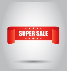 Super sale ribbon icon discount sticker label on vector