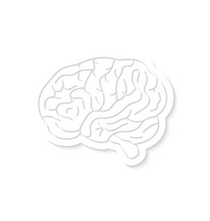 white brain icon with shadow vector image