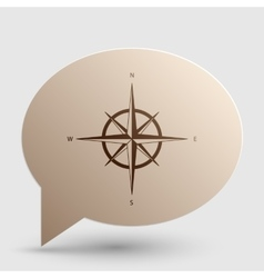 Wind rose sign brown gradient icon on bubble with vector