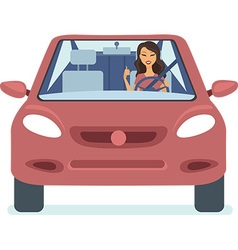 Woman driving the red car vector