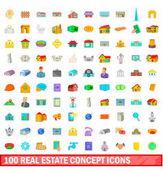100 real estate concept icons set cartoon style vector image vector image
