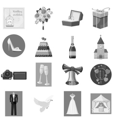 Wedding icons set gray monochrome style vector image