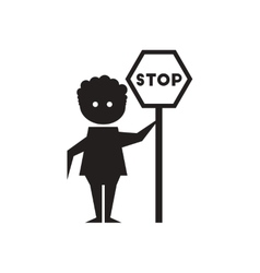 Flat icon in black and white man stop sign vector