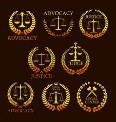 Advocacy or lawyer gold heraldic icons vector