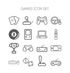 Set of simple icons for video games controllers vector