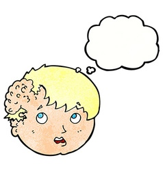 Cartoon boy with ugly growth on head with thought vector