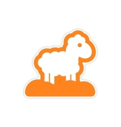 Paper sticker on white background christmas lamb vector