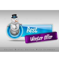 Blue glossy button with cute snowman winter design vector