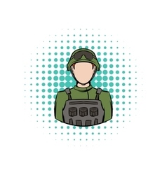 Soldier comics icon vector