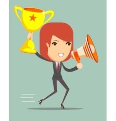Woman holding up winning trophy and a megaphone vector