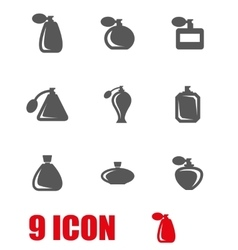 Grey perfume icon set vector
