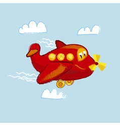 Kiddy little red plane vector