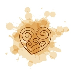 Abstract heart on coffee stain background vector image vector image