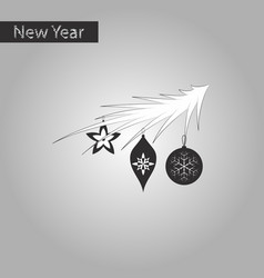 black and white style icon of christmas tree toys vector image
