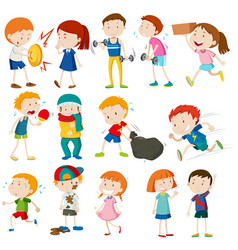 boys and girls doing different activities vector image