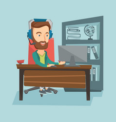 business man with headset working at office vector image